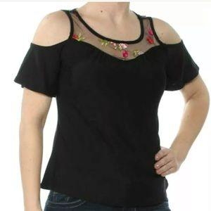 Black Floral Embroidered Cold Shoulder Top  XS